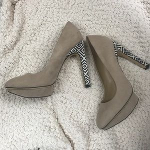 Zara Basic tan faux suede textured heel pumps